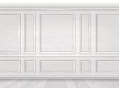 The wall decorated with white wooden panels. Fragment of the classic luxurious interior of the office or living room. Architectural realistic vector background.