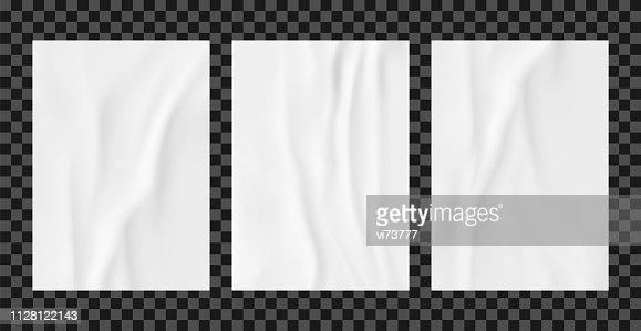 White wrinkled poster template set. Glued paper vector mockup. : stock vector