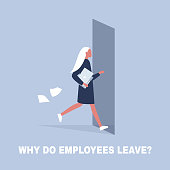 HR. Why do employees leave, brain drain problem. Young character running away from the office. Flat editable vector illustration, clip art