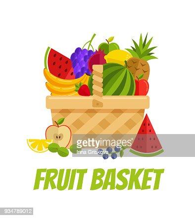 Wicker basket full of fruits gooseberry, garnet, lemon, orange, apple, banana, grapes, pineapple, strawberry, watermelon. Agriculture garden farming concept : stock vector