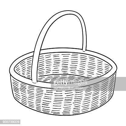 wicker basket : stock vector