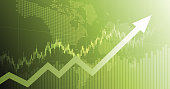 widescreen abstract financial chart with uptrend line arrow graph and world map on green color background
