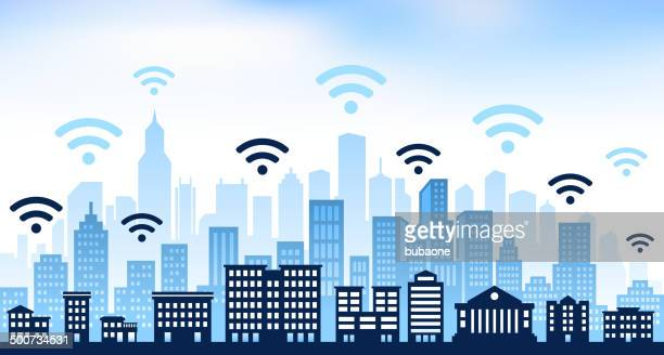 Wi-Fi and panoramic city skyline Background