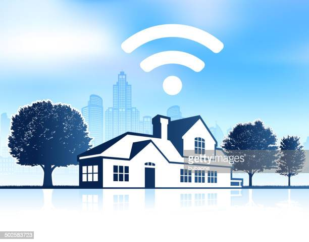 Wi-Fi House on panoramic city skyline Background