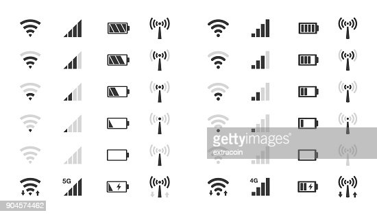 wifi level icons, signal strength indicator, battery charge : stock vector