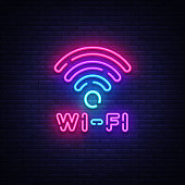 Wifi neon sign vector. Wifi symbol neon glowing letters shining, Light Banner, neon text. Vector illustration. Billboard.