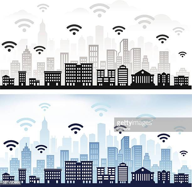 Wi-Fi on panoramic city skyline Color Set
