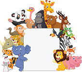 Vector illustration of Wild animal cartoon with blank sign