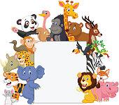 Vector illustration of Wild animal cartoon with blank sign