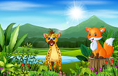 Wild animal cartoons with beautiful green scenery