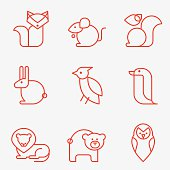 Wild animal icons, thin line style, flat design