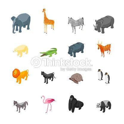 Wild Animals Icons Set Isometric View. Vector : stock vector