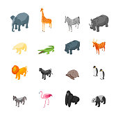 Wild Animals Icons Set Isometric View Include of Giraffe, Lion, Elephant,Hippo,Monkey, Bear and Crocodile. Vector illustration of Animal