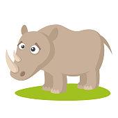 Wild animals. Rhino Wildlife Vector illustration isolated on white background