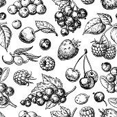 Wild berry seamless pattern drawing. Hand drawn vintage vector background. Summer fruit set of strawberry, cranberry, currant, cherry, srawberry, blueberry. Detailed organic food for menu, label, bann