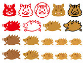 Set of wild boar icons.