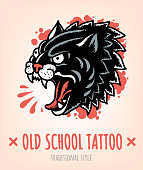 Wild Cat Old School Tattoo traditional Style. Vector Illustration
