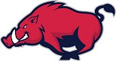 Clipart picture of a wild hog or boar cartoon mascot logo character