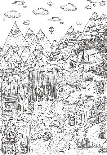 Vida Silvestre En Bosque Dibujado En Estilo Del Arte De Línea Diseño ...