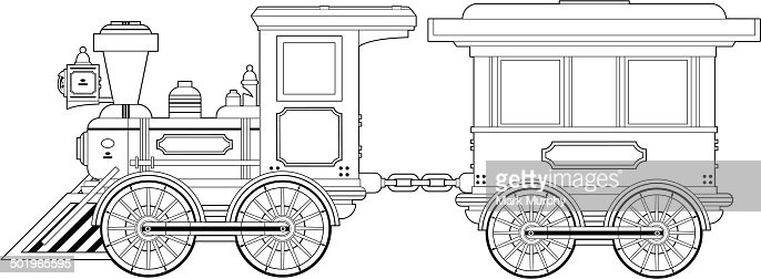 Wild West Train And Carriage Outline Vector Art