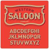 Vintage western style volume font with emblem frame. Warm background.