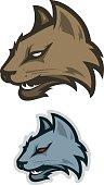 Logo style cat head mascot, colored version. Great for sports logos & team mascots.