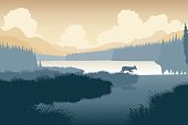 EPS8 editable vector illustration of a deer in a wild landscape with the deer as a separate object