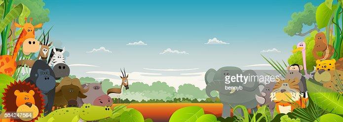 Wildlife African Animals Background : Arte vettoriale