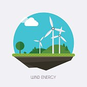 Wind energy. Landscape and industrial factory buildings concept. Vector flat infographic.