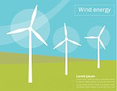 Wind generators. Vector. Cartoon Isolated art Flat