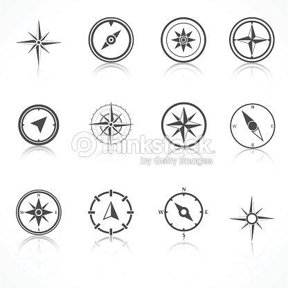 Wind Rose Compass Flat Vector Symbols Set