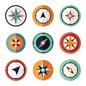 Wind rose compass vector symbols set