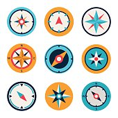 Wind rose compass flat symbols set