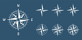 compass wind rose icons set, vector illustration