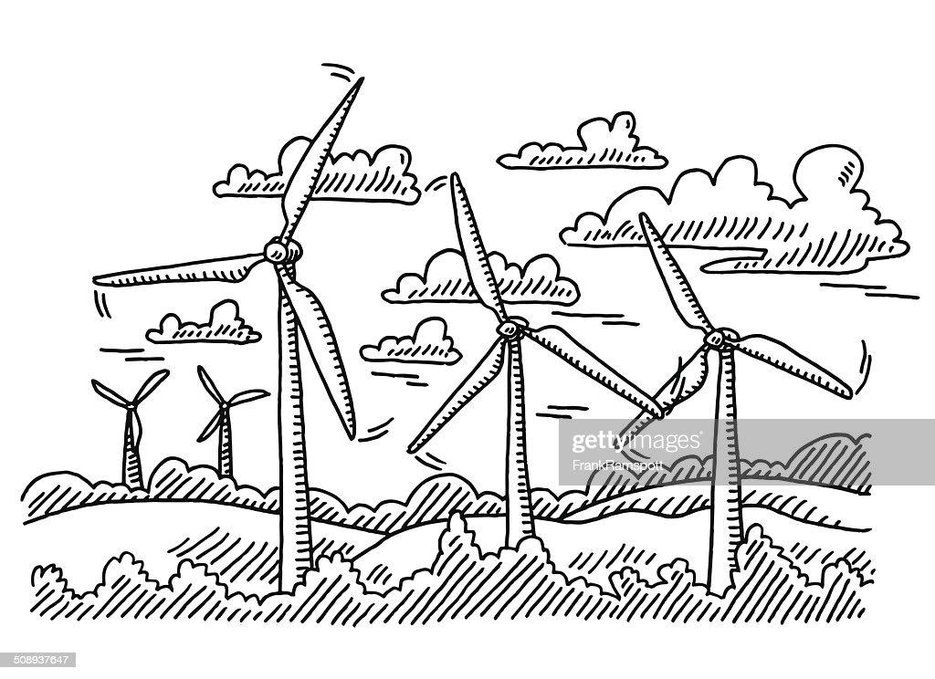 Wind Turbine Landscape Drawing Vector Art Getty Images