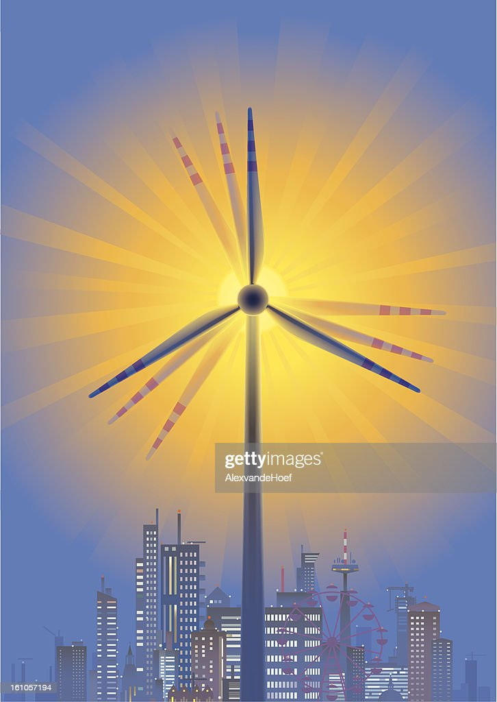Wind Turbine, Sun and City Skyline in Twilight : Vector Art