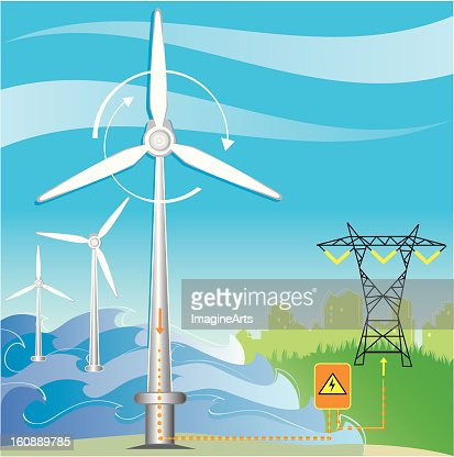Wind turbine water farm produces electricity : Vector Art