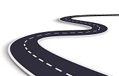 Winding Road on a White Isolated Background. Road way location infographic template. Vector EPS 10