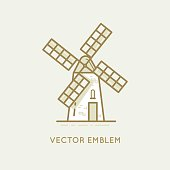 Vector illustration and logo design template in modern flat linear style - windmill - bakery emblem - agriculture landscape