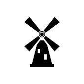 Dutch or Holland old farm windmill isolated icon. Mill icon with windmill silhouette. Energy icon vector illustration.