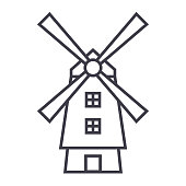 windmill,holland vector line icon, sign, illustration on white background, editable strokes