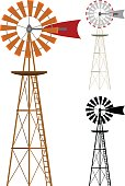 Vector illustration of a windmill in two color variations and silhouette. Illustration uses no gradients, meshes or blends, only solid color. Each windmill is on its own layer, easily separated from t