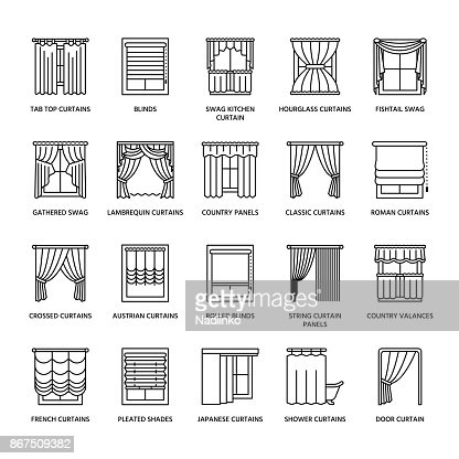 Window curtains, shades line icons. Various room darkening decoration, lambrequin, swag, french curtain, blinds and rolled panels. Interior design thin linear signs for house decor shop : stock vector