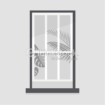 Window Frame And Plant Leaves Home Decoration Copy Space No People ...