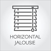Window horizontal jalousie icon in outline style. Contour emblem for different design needs. House or office decor concept, shop catalog, online shops and other projects. Vector illustration