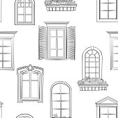 Window pattern. Different architectural style of windows doodle sketch seamless ornamental background