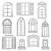 Window set. Different architectural style of windows doodle sketch stylish collection