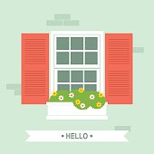Simple vector illustration of window with red shutters and flower box. Easy to edit, elements are grouped and in separate layers. EPS10 and large jpg.