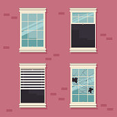 Windows broken, open, closed, with blinds vector set.
