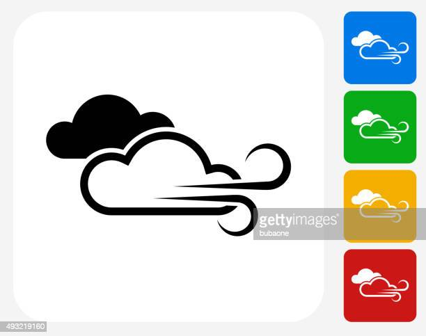 Windy Weather Icon Flat Graphic Design